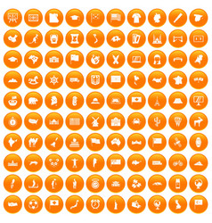 100 geography icons set orange vector
