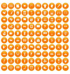 100 geography icons set orange vector image