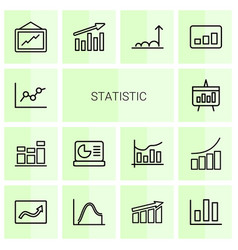 14 statistic icons vector image