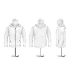 3d realistic white hoodie on mannequin vector