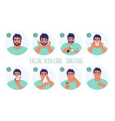 8 step men facial skin care flat vector