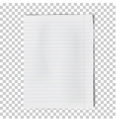 A4 sheet lined paper isolated on transparent vector