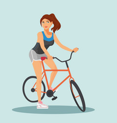 adult young woman riding bicycles vector image