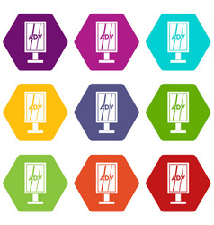 advertising stand icon set color hexahedron vector image