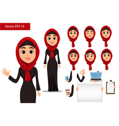 Arabic woman constructor set cute cartoon vector