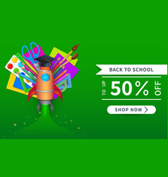 Back to school sale banner template with 50 vector