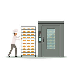 baker carrying rack full of bread to an industrial vector image
