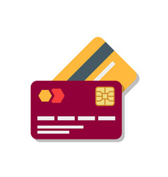 Banking or debit plastic card with shadow isolated vector