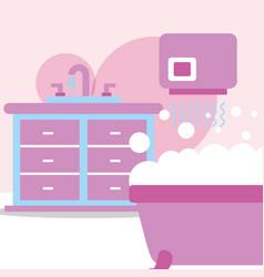 Bathtub furniture washbasin hand dryer bubbles vector
