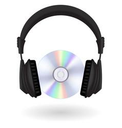 Black headphones cd disc vector