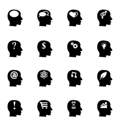 black thoughts icon set vector image