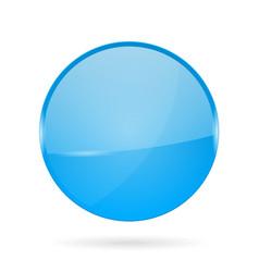 Blue shiny 3d button web round icon vector