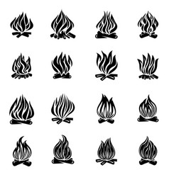 bonfire flame fire icons set simple style vector image