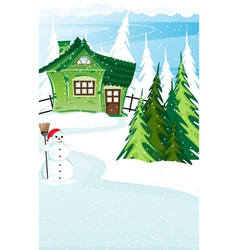 Brick house and snowman with santa hat vector image