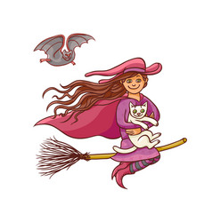 Bright pretty good girl witch on broom with vector