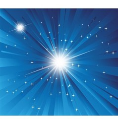 Burst Blue background with ray and star light vector image
