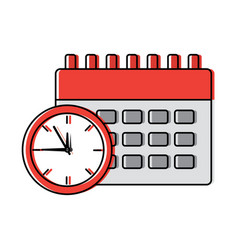 business clock time and calendar icon vector image