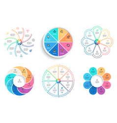 business infographics pie charts with 8 steps vector image