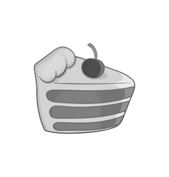 Cake with cherries icon black monochrome style vector image