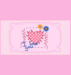 card for girl with seamless texture with dots vector image