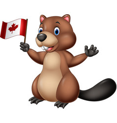 Cartoon beaver holding canadian flag vector