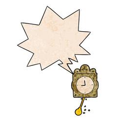 Cartoon ticking clock and pendulum and speech vector
