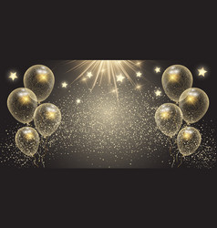 celebration banner with gold balloons and stars vector image