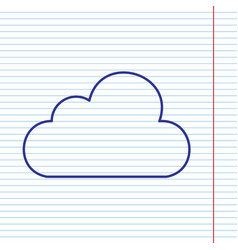 cloud sign navy line icon on vector image