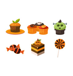collection of colorful halloween sweets candies vector image