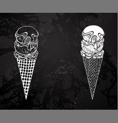 contour ice cream with syrup drawing chalk vector image