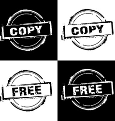Copy Free rubber stamp on black and white vector image