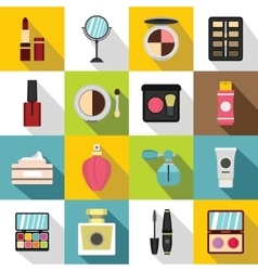 Cosmetics icons set flat style vector image