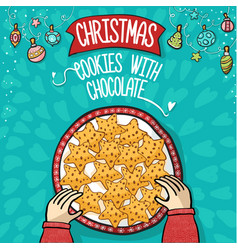 Cristmas cookies with chocolate hand draw vector
