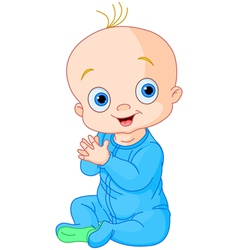 Cute baby boy clapping hands vector image vector image