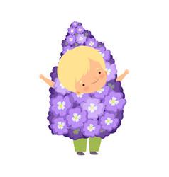 Cute blonde little boy wearing beautiful flower vector
