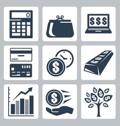 dark blue money icons set vector image
