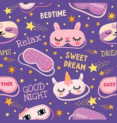 Dream mask seamless pattern cute pajama print vector