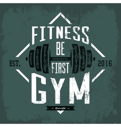 Dumbbell or barbell print on sportswear cloth vector