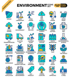 Environment eco concept detailed line icons set vector