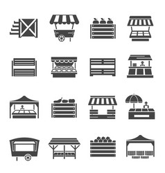 farmer vegetables market with cover icon set vector image