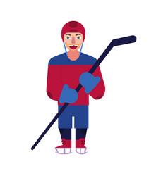 flat ice hockey player man isolated vector image