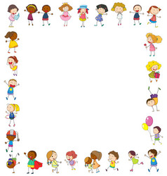 Frame template with happy children vector