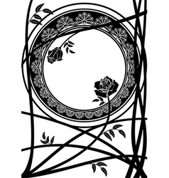 Frame with branches of roses vector