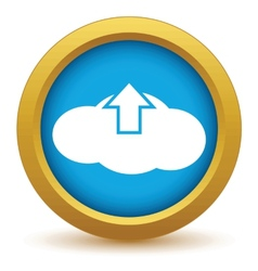 Gold upload cloud icon vector image