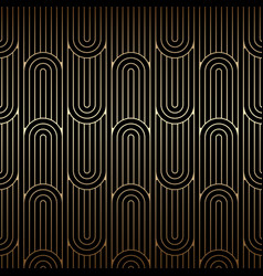 Golden art deco pattern seamless linear background vector