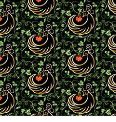 Golden Bird Seamless Pattern vector image