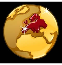Golden globe with marked europe countries vector