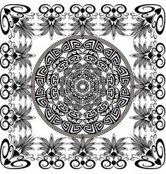 greek black and white round mandala pattern vector image