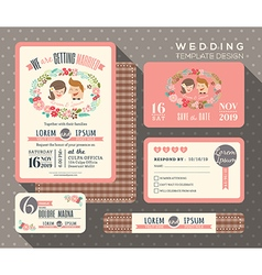 groom and bride cartoon retro wedding invitation vector image