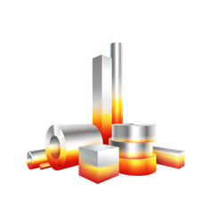 Group melt hot metal steel objects vector